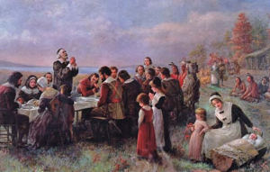 the-first-thanksgiving-pilgrim-at-plymouth-jennie-a-brownscombe-1914