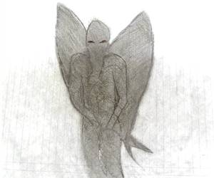 Drawing of man-bat by eye witness.