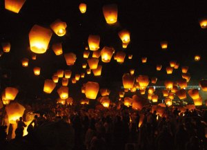 "Photo of the type of ""sky lanterns"" that were mistaken for UFOs over Norwich."