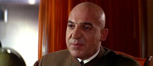 Tely Savalas as Blofeld in ON HER MAJESTY'S SECRET SERVICE